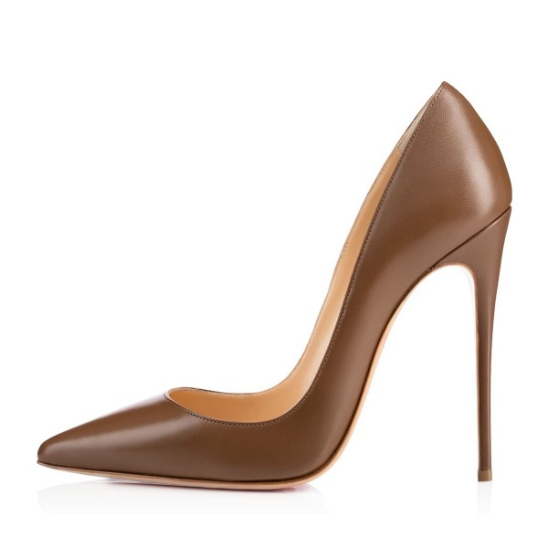 Brown Vegan High Heels Office Shoes Pointy Toe Stiletto Heel Pumps image 2