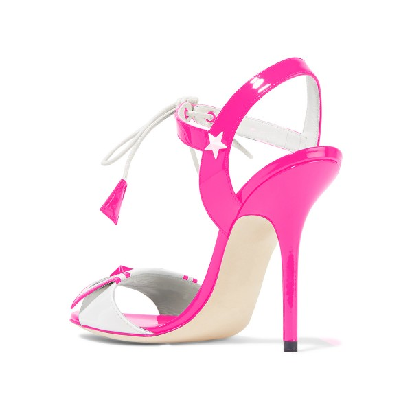 Pink Lace up Sandals Patent Leather Open Toe Stiletto Heels  image 3