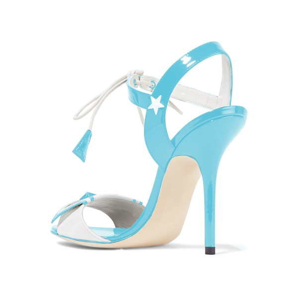 Women's Light Blue Chic Star Strappy Stiletto Heel Ankle Strap Sandals image 3