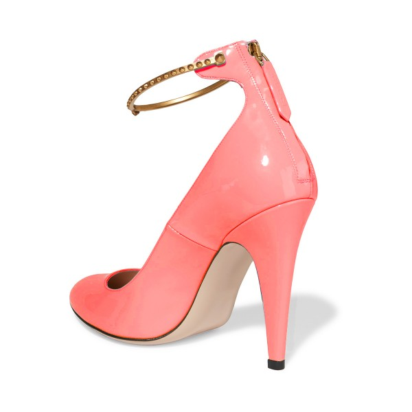 Women's Pink Patent Leather Cone Heel Pumps Ankle Strap Heels image 3