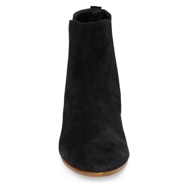 Black Vintage Boots Chelsea Boots Suede Round Toe Chunky Heel Comfortable Ankle Boots image 3