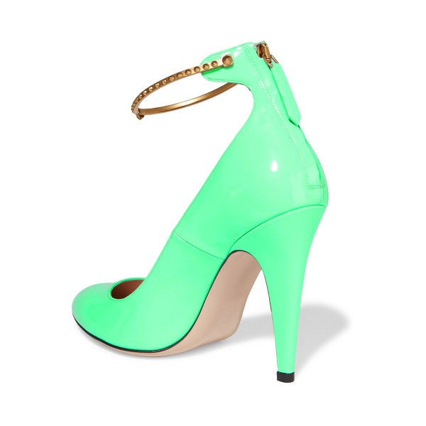 Green Ankle Strap Heels Pointy Toe Patent Leather Cone Heel Pumps image 3