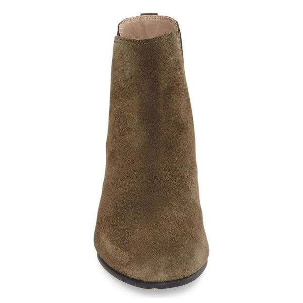 Women's Dark Brown Chelsea Boots Suede Ankle Chunky Heel Boots image 2