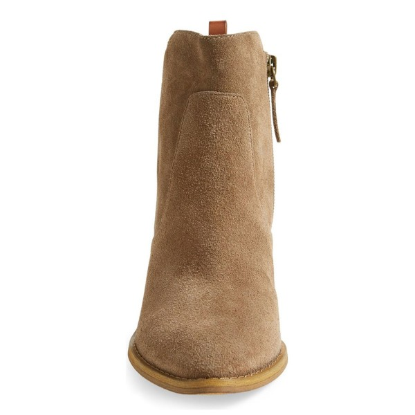 Women's Khaki Suede Low Chunky Heel Boots Round Toe Heels image 3