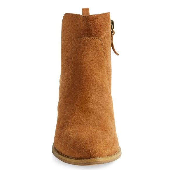 Tan Vintage Boots Suede Chunky Heel Ankle Booties for Female image 2