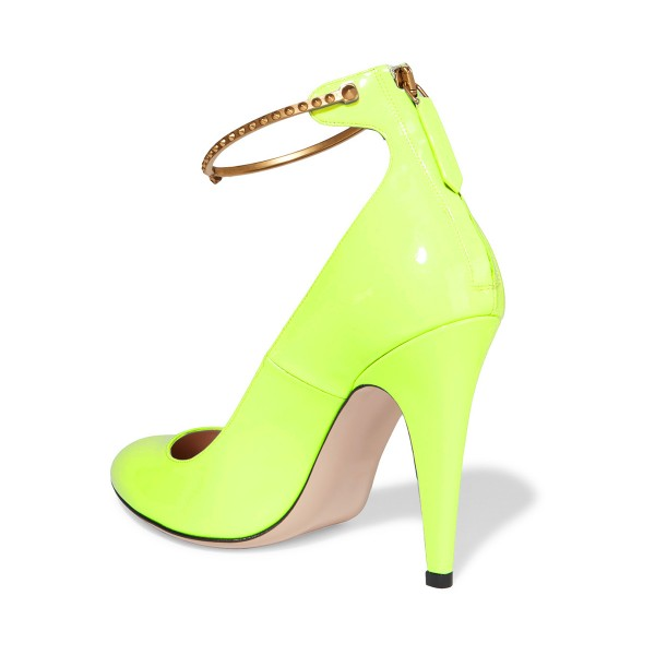 Women's Light Yellow Patent Leather Ankle Strap Heels Pumps Shoes image 3
