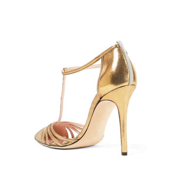 Women's Golden Pointy Toe Formal T-Strap Stiletto Heels Pumps Sandals image 2