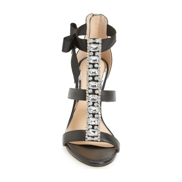 Black Evening Shoes T Strap Rhinestone Prom Shoes with Bow image 2