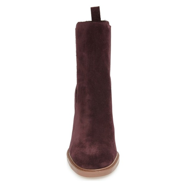 Maroon Chelsea Boots Chunky Heel Round Toe Suede Women's Ankle Boots  image 2