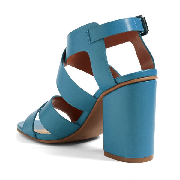 Blue Block Heel Sandals Open Toe Comfortable Shoes image 2