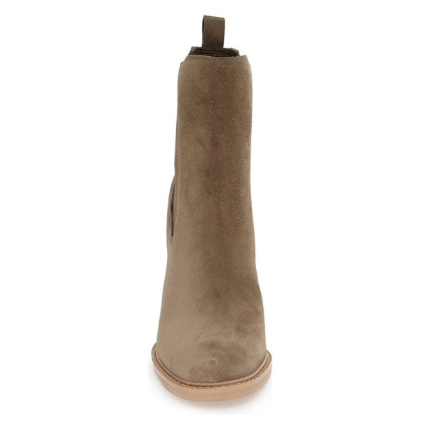 Women's Brown Suede Chelsea Boots Commuting Wooden Chunky Heels Boots image 2