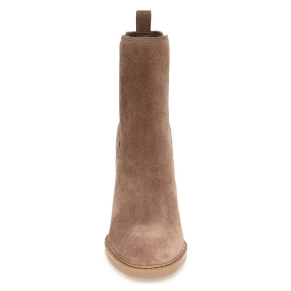 Women's Brown Chelsea Boots Commuting Suede Wooden Chunky Heel Boots image 2