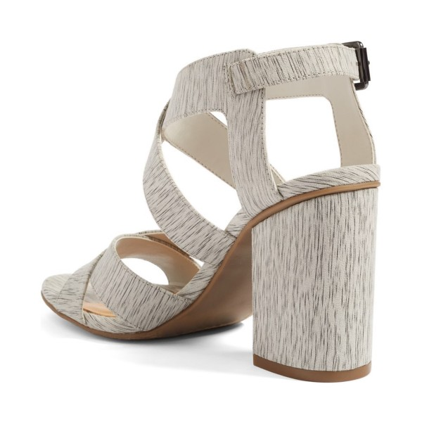 Women's Grey Wood Grain Open Toe Buckle Chunky Heel Sandals image 2