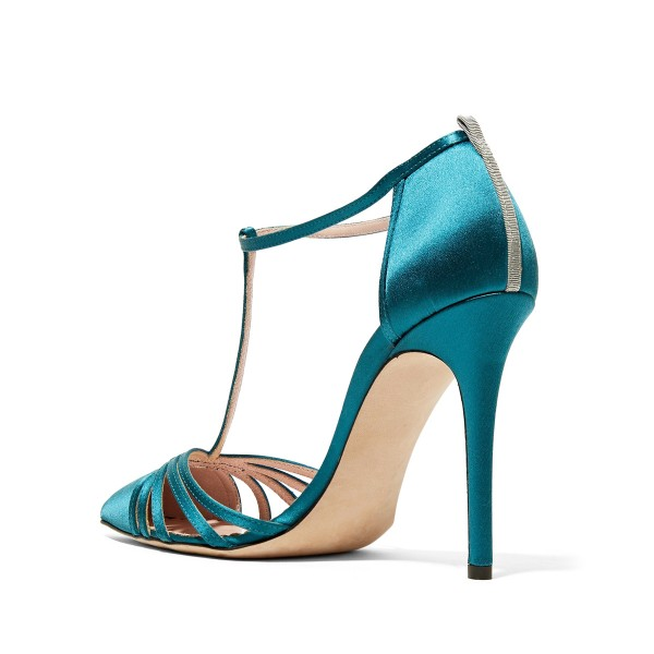 Women's Blue Pointy Toe Formal Pencil Heel Pumps  T-Strap Sandals  image 2
