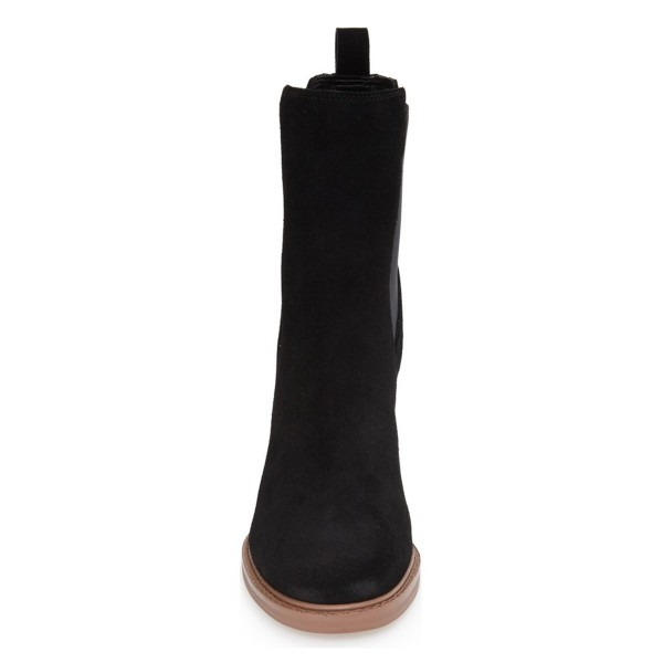 Black Chelsea Boots Wooden Chunky Heel Suede Ankle Boots for Work image 2