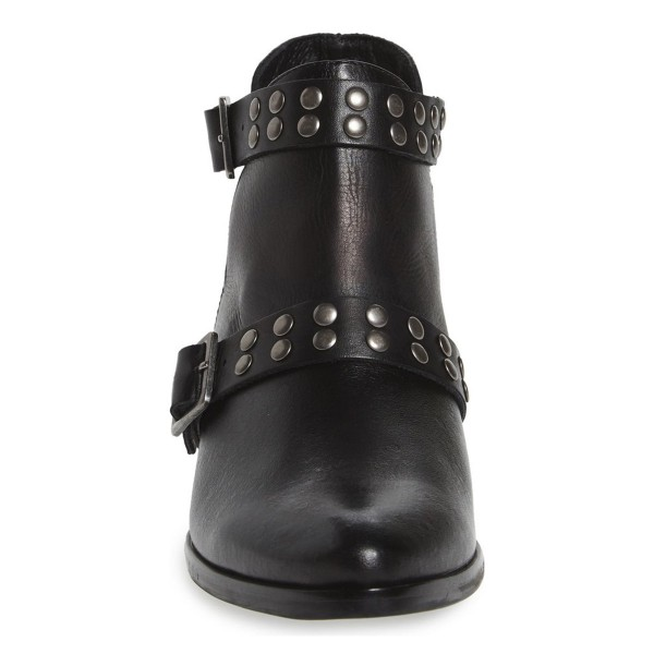 Black Fashion Boots Studded Buckles Motorcycle Boots image 3