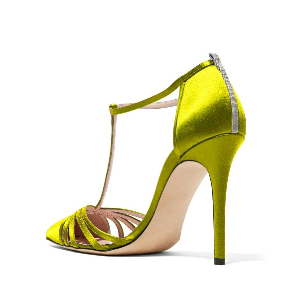 Lime T Strap Sandals Satin Pointy Toe Stiletto Heel Sandals image 2