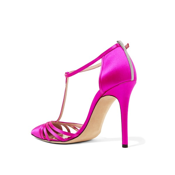 Hot Pink T Strap Sandals Satin Closed Toe Stiletto Heels image 2