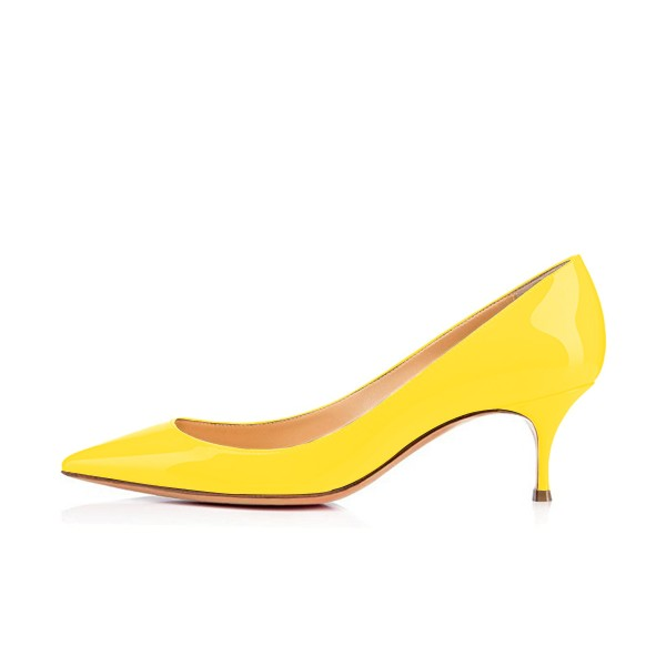 Yellow Kitten Heels Patent Leather Pointy Toe Pumps Office Heels image 3
