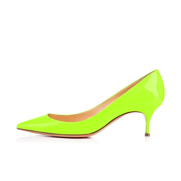 Neon Kitten Heels Patent Leather Pointy Toe Pumps image 3