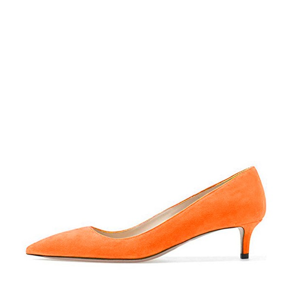 On Sale Orange Kitten Heels Pointy Toe Suede Pumps for Women image 2