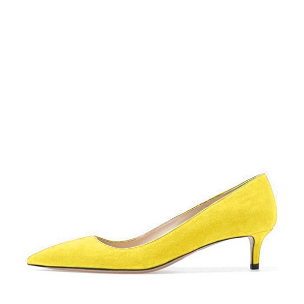 Yellow Kitten Heels Pointy Toe Suede Pumps Office Shoes image 2