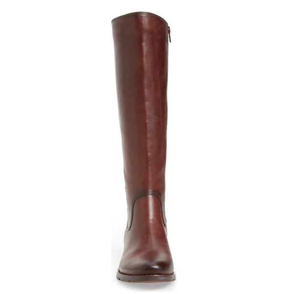 Brown Riding Boots Round Toe Back Lace up Vintage Knee Boots image 2