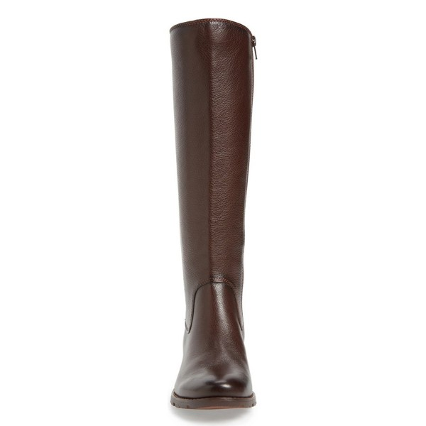 Brown Riding Boots Vegan Leather Round Toe Back Lace up Knee Boots image 3