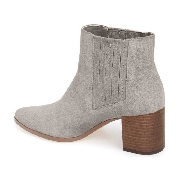 Women's Light Gray Pointed Toe Ankle Chunky Heel Boots image 2