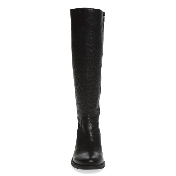 Black Riding Boots Vegan Leather Round Toe Back Lace up Knee Boots image 2