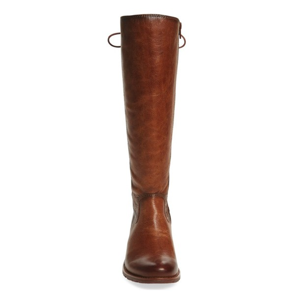 Brown Vintage Boots Round Toe Knee-high Riding Boots image 2