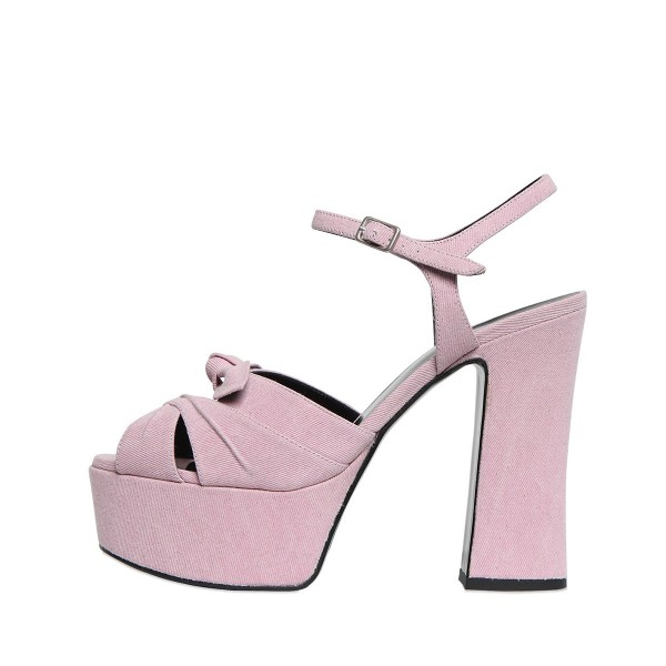 FSJ Pink Chunky Heel Sandals Peep Toe Platform High Heels with Bow image 4