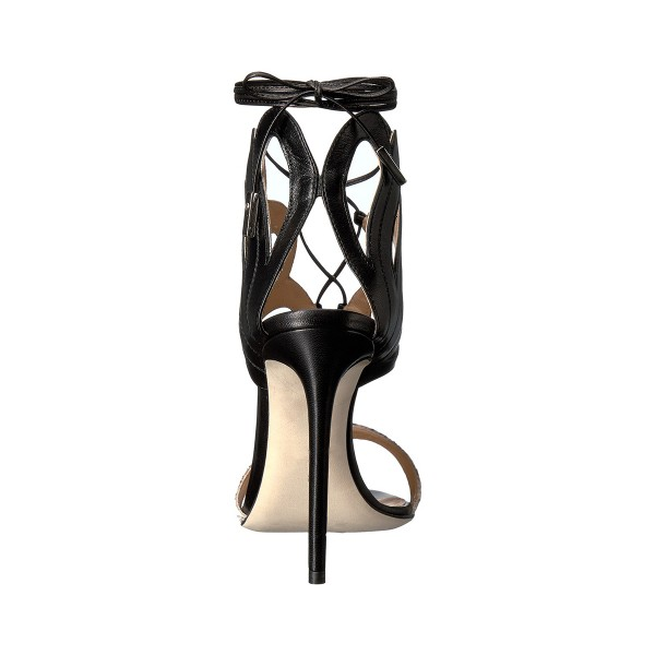 Women's Black and Silver Strappy Stiletto Heels Ankle Strap Sandals image 3