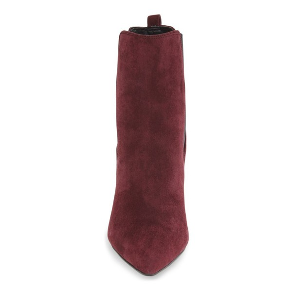 Burgundy Chelsea Boots Chunky Heel Pointy Toe Suede Shoes for Work image 3
