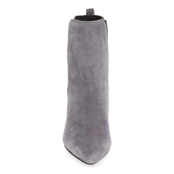 Grey Chelsea Boots Suede Chunky Heels Pointy Toe Ankle Booties image 3