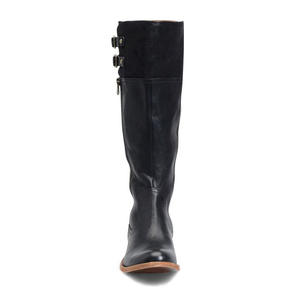 Black Riding Boots Round Toe Flat Textured Vegan Leather Knee Boots image 2