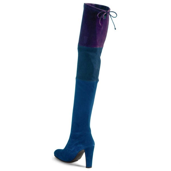 Women's Blue Three Color Stitching Over-The- Knee Chunky Heel Boots image 3