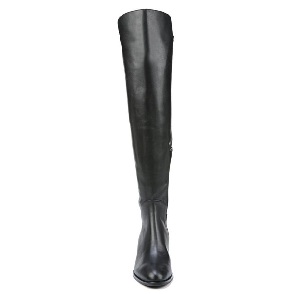 Women's Black with Zipper Knee Over Chunky Heel Boots image 3