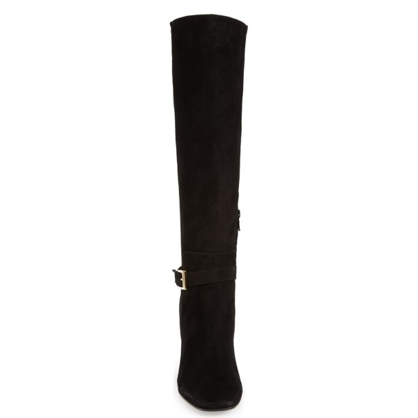 Black Women's Dress Boots Suede Block Heel Knee Boots image 2