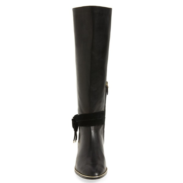 FSJ Black Flat Boots Pointy Toe Knee Boots with Tie image 2