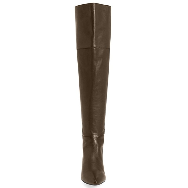 Black Flat Thigh High Boots Pointy Toe Comfy Shoes for Work image 2
