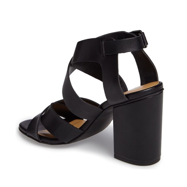 Black Block Heel Sandals Open Toe Cross-over Strap Summer Sandals image 2