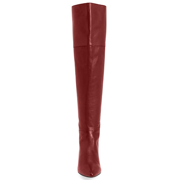 Women's Coral Red Commuting Over-The-Knee Comfortable Flats Boots image 3