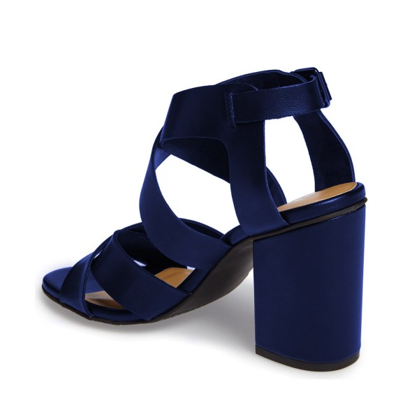 Navy Block Heel Sandals Open Toe Cross-over Strap Sandals for Women image 2