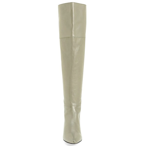 Light Grey Flat Thigh High Boots Pointy Toe Long Boots by FSJ image 2