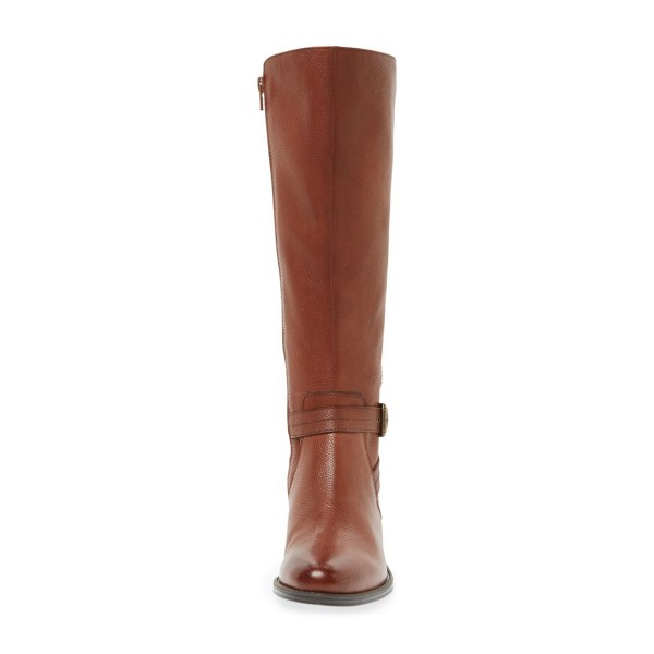 Tan Boots Round Toe Low Heel Textured Vegan Leather Riding Boots image 2