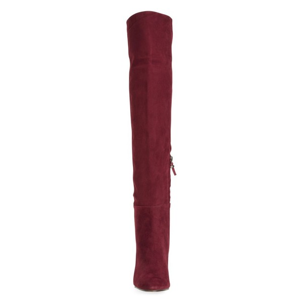 Burgundy Chunky Heel Boots Suede Vintage Over-the-knee Boots  image 2