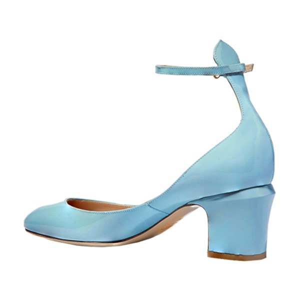 Blue Round Toe Block Heel Ankle Strap Pumps for Ladies image 2