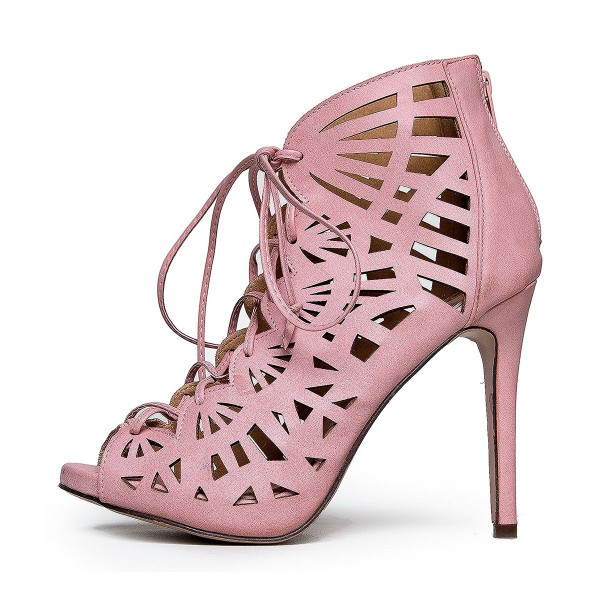 Women's Pink Hollow-out Formal Evening Dress Lace-up Sandals image 2