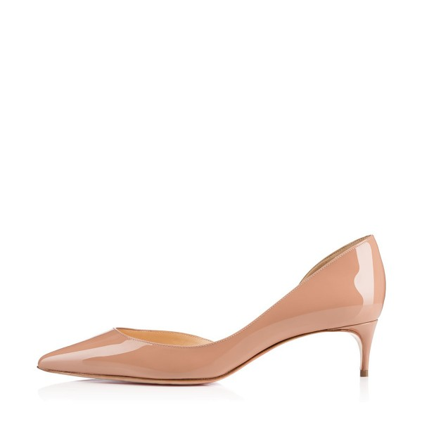 Nude Kitten Heels Dress Shoes Pointy Toe Patent Leather Dorsay ...